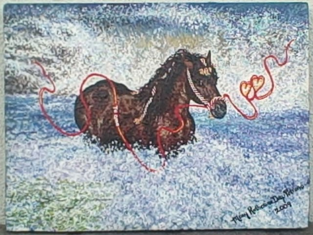Horse Galloping In A Wave